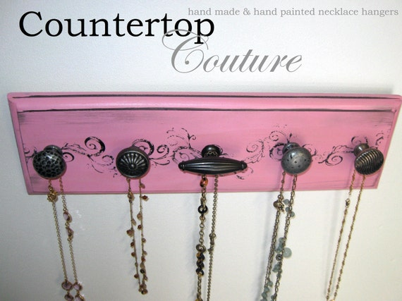 Dorm Room Necklace Rack in Pretty Pink  and Black  handpainted  with 5 quality knobs1 of a kind
