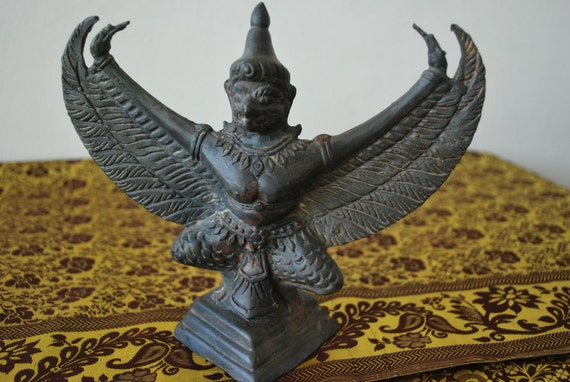 Hindu Bird God Garuda Statue Vintage 1960s By
