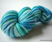 "Hand dyed Yarn, Self-Striping, Bamboozled Sock, SW Merino Bamboo, ""Oceana"""