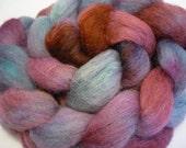 "Hand dyed spinning fiber, wool Roving, ""Purple Haze"""