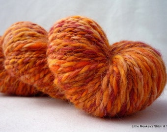 "Handspun Yarn, Worsted wool alpaca silk, 4 oz, ""Harvest"""