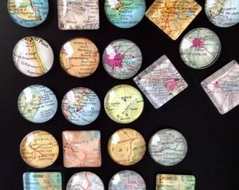 "6 Glass Fridge Magnets World Maps (set of 6 1"" glass Destination Wedding, Corporate gifts, Bridal Shower favors"