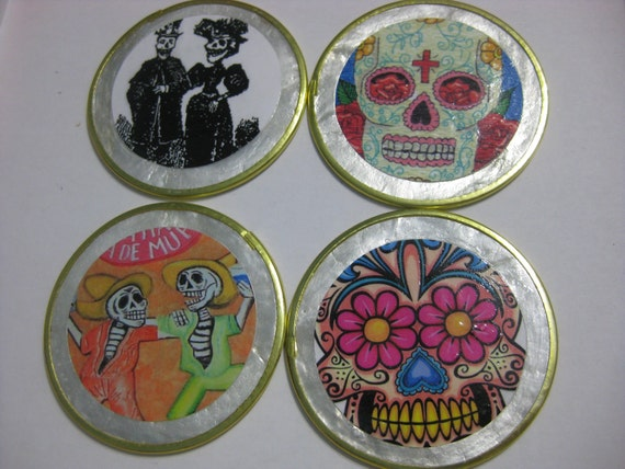 Set of 4 coasters Mexican Dia de los Muertos Day of the Dead Capiz Shell Coasters
