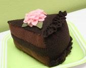 Felt DOUBLE CHOCOLATE CAKE - Pretend Food Play Food - Felt Dessert