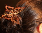 Hair Sticks- Copper Butterfly Set of 2