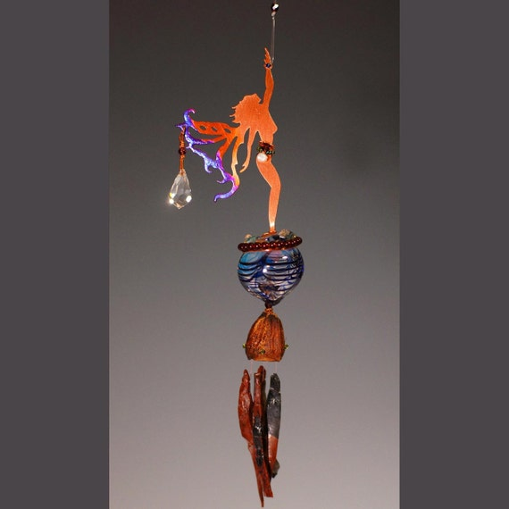 Wind Chime & Potion Bottle- Spring Time Star Reaching Fairy - Your choice of color