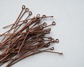200 x Antique Copper Eye Pin Eyepins 42mm