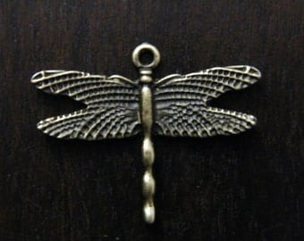 10 x Antique Brass Dragonflies Bronze Dragonfly Pendant Charms 28x35.5mm