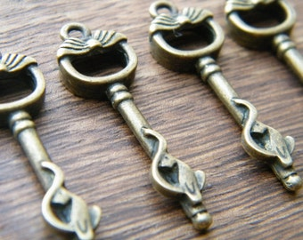 Atwood - Skeleton Keys - 10 x Antique Keys Bronze Brass Vintage Skeleton Key Cat Keys