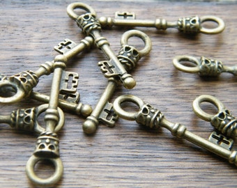 Christie - Skeleton Keys - 10 x Antique Brass Bronze Treasure Chest Antique Vintage Skeleton Keys