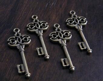 Boland - 10 x Antique Brass Bronze Skeleton Key Vintage Celtic Style Keys