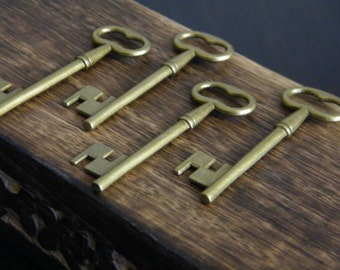 Woolf - 20 x Antique Bronze Brass Skeleton Key Large Vintage Keys