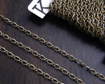 20ft Antique Brass Chain Bronze Chain Long & Short Twist Chain 6x3.5mm 3x2.5mm - C