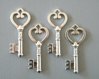 Austen - Skeleton Keys - 10 x Skeleton Key Set Antique Keys Silver Vintage Keys