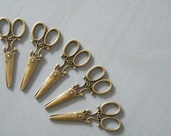 6 Antique Bronze Brass Scissors Vintage Pendant Scissors Charm Large