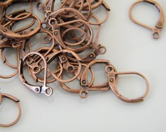 100 x Antique Copper Leverback Earwire Earrings 10x15mm