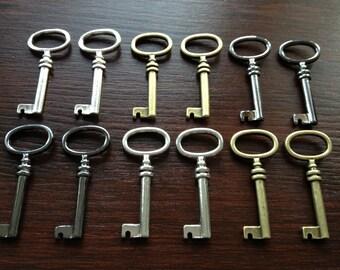 The Brontë Sisters - Skeleton Keys - 12 x Antique Bronze, Gunmetal & Silver Barrel Antique Keys Vintage Skeleton Keys Key Charms