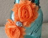 Shabby Flowers Tangerine & Grey  Headband