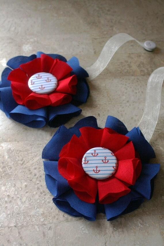 Nautical Magnetic Tie Backs Fabric Flowers
