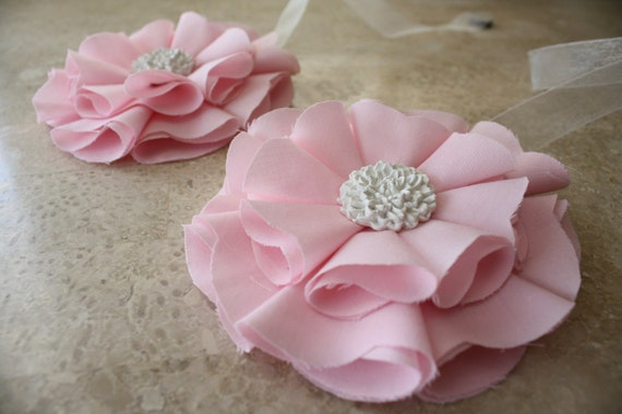 Light Pink  Magnetic Tie Backs Fabic Flowers