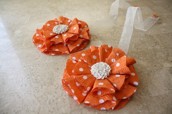 Orange and Polka Dots Magnetic Tie Backs Fabic Flowers
