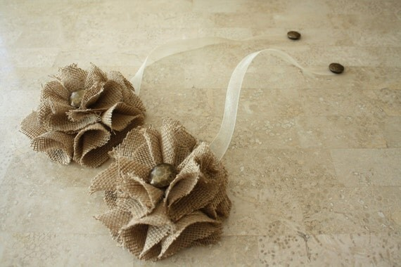 Tan Color Burlap Magnetic Tie Backs Flowers