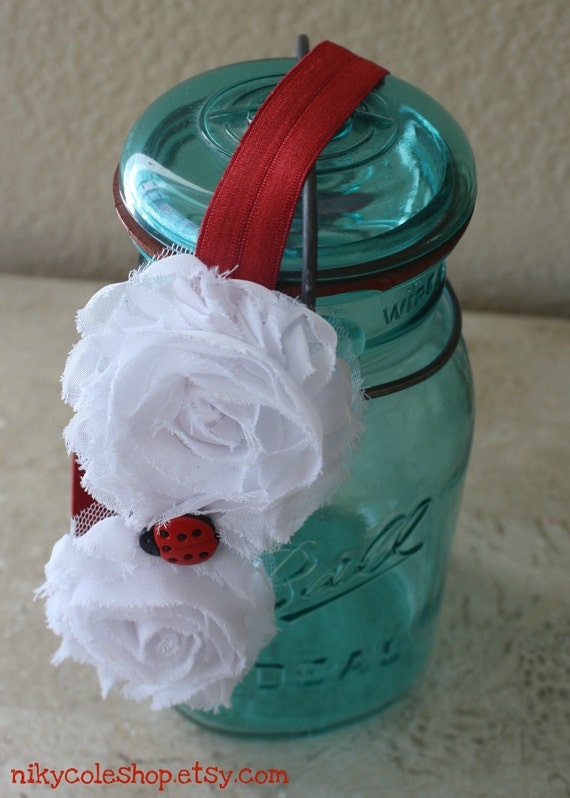 The Ladybug Shabby Flowers Headband