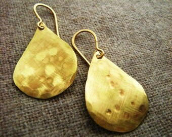 Monsoon Teardrops // For a Voyage // Dangle Earrings // solid brass // hammered hand forged brushed matte gold