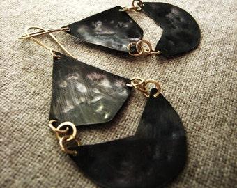 black chandelier earrings / black and gold earrings / Heights Falafel / geometric Oxidized chevron modern Bohemian jewelry lightweight