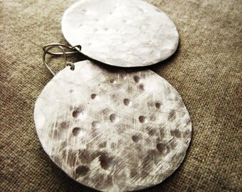 Bella Luna Earring -- Hammered and Brushed, Hand-Forged