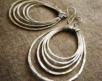 Potami // Hoop Earrings // Hand Forged, Hammered (Aluminum Silver) Concentric Oval Multi Hoop spring summer fashion