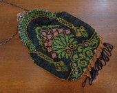 Flapper Gal - 1920s Large Beaded Bag with Silver Frame and Tassels