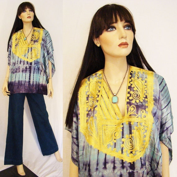 ON HOLD for Nicole - Mystical Mama... Magical Purple & Turquoise Tie Dye Silk Embroidered Caftan Top with Asymmetrical Neckline