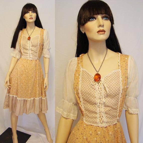 Prairie Gal... 70s Lace Corset Prairie Midi Dress