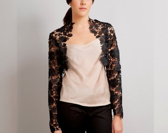 Krista long sleeves lace bolero shrug noir black