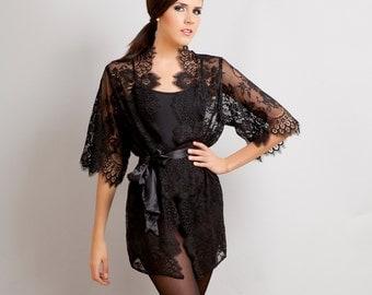 Ready to ship - Swan Queen Bridal Boudoir Scalloped Lace kimono robe black XS S M L custom - getting ready