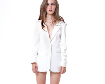 Night out lace inset blazer off white S M L custom
