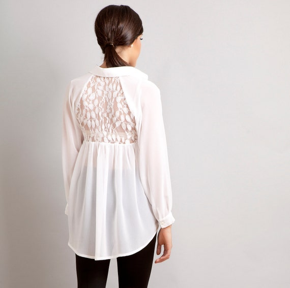Ready to ship- Love Lace back raglan button down shirt top white XS S M L custom