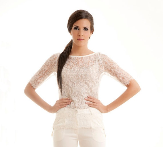 Made to order - Swan lace scalloped top ivory cream S M L