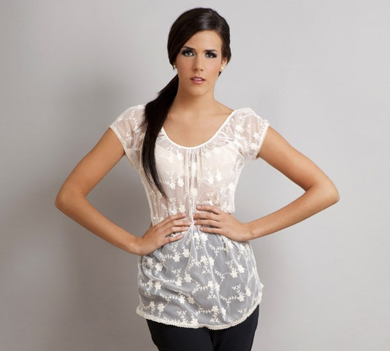 SALE Iris Lace floral embroidered tunic shirt top cream S
