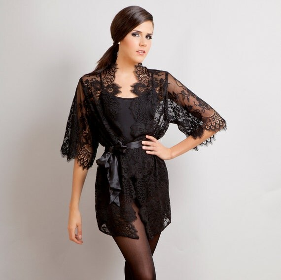 Ready to ship - Swan Queen Bridal Boudoir Scalloped Lace kimono robe black XS S M L custom - getting ready