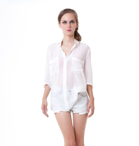 All day long Erin Spring down shirt blouse top off white S M L custom for einlee