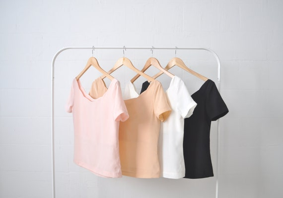 First Date Silk scalloped blouse shirt top Spring pastels rose pink blush peach black S M L