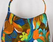 Vintage Hawaiian Fabric Hobo/Tote - Brown, Orange & Blue Floral