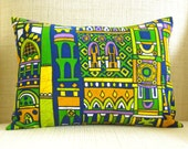 Throw Pillow Cover - Vintage Medieval Cathedrals, Cities and Turrets Barkcloth - 12 x 16
