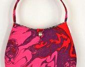 Vintage Fabric Hobo - Pink, Red & Purple Marble Swirl Canvas
