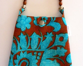 Evening Out Bag - Vintage Turquoise & Chocolate Floral - Reversible