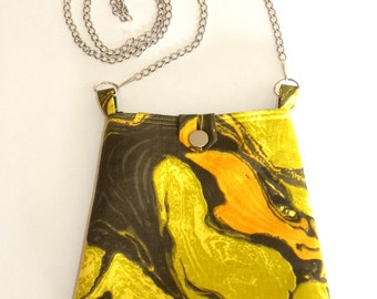 Reversible Hip Bag - Vintage Yellow, Orange & Gray Swirl