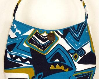 Vintage Fabric Hobo/Tote - Blue Abstract Tiki Barkcloth