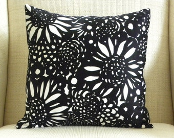16 x 16 Pillow Cover - Vintage Black and White Floral Mod